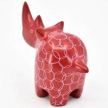 Tabaka Chigware Hand Carved Kisii Soapstone Red Rhinoceros Figure Made Kenya image 3