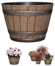 Classic Whiskey Barrel Planter Distress Oak Durable High Density Lightwe... - $255,89 MXN