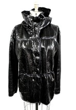 Lanvin Exotic Black Leather Snake Skin Hooded Parka Coat Jacket Women S ... - $1,000.00
