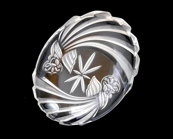 Large Gorham Crystal Platter,  Angels of Peace, Original Box - $18.99