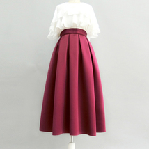 Wine Red Midi Party Skirt A-line Polyester Pleated Midi Skirt Holiday Outfit  image 2
