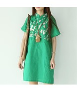 2017 Summer Cotton Linen Dress Floral Embroidery Ethnic Clothing Chinese... - $43.86