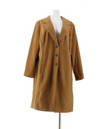 Lisa Rinna Collection Brushed Ponte Menswear Coat Camel L NEW A345881 - $113.83