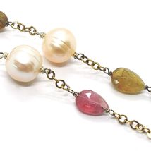 SILVER 925 NECKLACE, YELLOW, TOURMALINE DROP, PEARLS ROUND, CHAIN ROLO' image 3