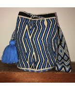Authentic 100% Wayuu Mochila Colombian Bag large Size natural Blue Black... - £63.13 GBP
