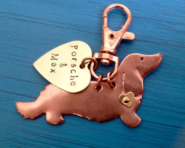NEW Longhaired Dachshund Keychain. Doxie. Custom Copper Dachshund Jewelry. - $18.00