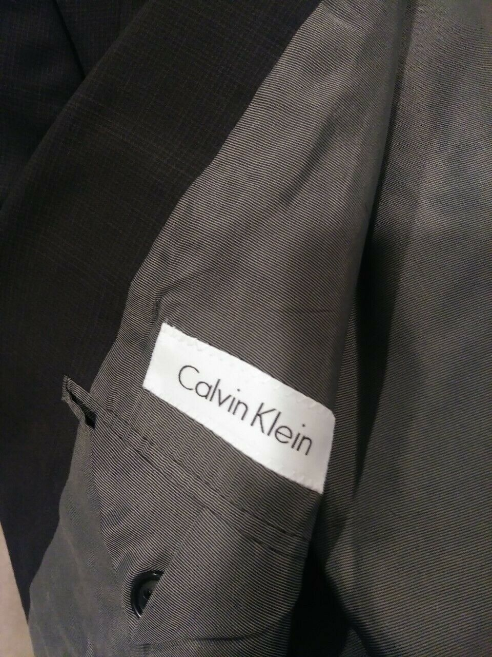 Calvin Klein Suit Coat Jacket Mens 42L Wool Black