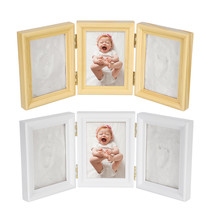 Tri-fold Baby Hand Foot Print Casting Mould Kit Photo Frame Christening ... - $45.00