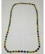 """Vintage 1970s Mardi Gras Necklace with Cylinder Spool Beads Plastic 22"""" ... - $9.89"""