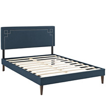 Josie King Fabric Platform Bed with Squared Tapered Legs in Azure - £273.88 GBP