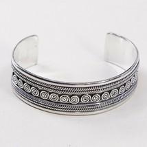 """7"""", Vtg Braid Sterling Handmade Cuff, 925 Silver Bracelet W/ Cable N Swirl - $73.74"""