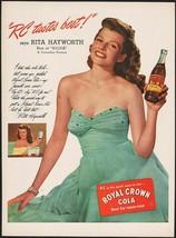 Vintage magazine ad ROYAL CROWN COLA 1946 picturing Rita Hayworth star of Gilda - $13.49
