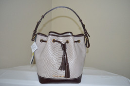 NWT $328 Dooney & Bourke Caldwell Taupe & Brown Leather Drawstring Shoul... - $167.31