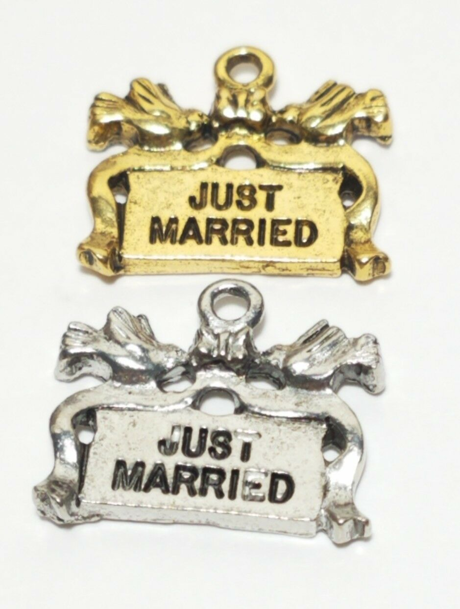 JUST MARRIED FINE PEWTER PENDANT CHARM