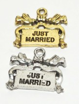 JUST MARRIED FINE PEWTER PENDANT CHARM image 1