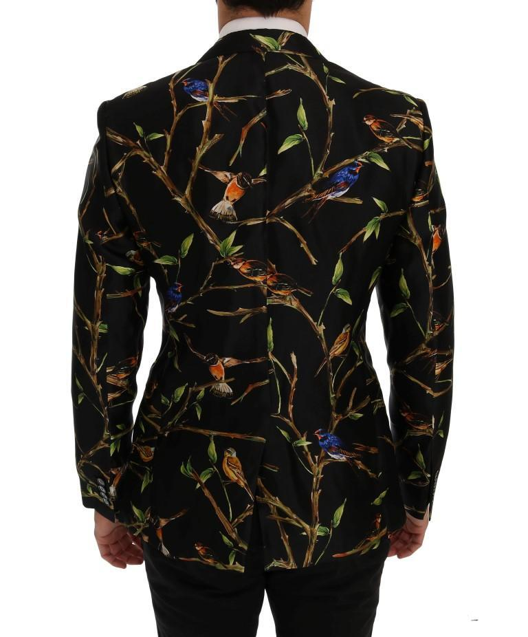 Dolce & Gabbana Black Bird Print Silk Slim Fit Blazer Jacket