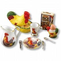 DOLLHOUSE Rooster Breakfast Cereal Set Reutter 1.494/8 Miniature - $19.95