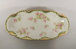 Antique Haviland Limoges Celery Dish Pinks & Green Florals w/ Gold Accents Roses - $125.00
