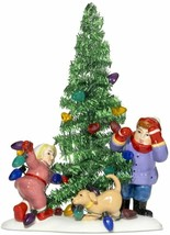 Dept 56 Snow Village Christmas Lane Everyone Decorate Tinsel Tree New in... - $29.99