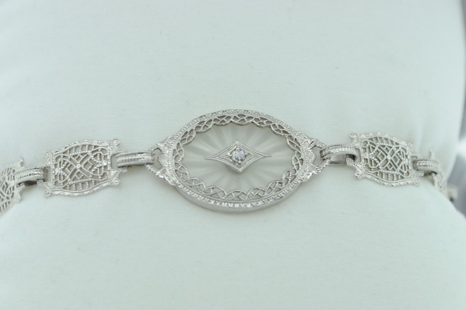 "Art Deco (ca. 1930) 10K White Gold Diamond & Etched Glass Bracelet (6 3/4"") image 3"