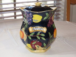 Biscotti Cookie Jar Hand Painted for Nonni's dark blue Fruit ceramic ~ - $49.49