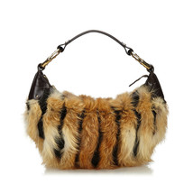 Pre-Loved Gucci Brown Fur Natural Material Bamboo Ring Hobo Bag Italy - $419.82