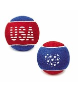 Dog Tennis Balls Stars and Stripes Red White Blue USA 6 Pack Patriotic D... - $13.75