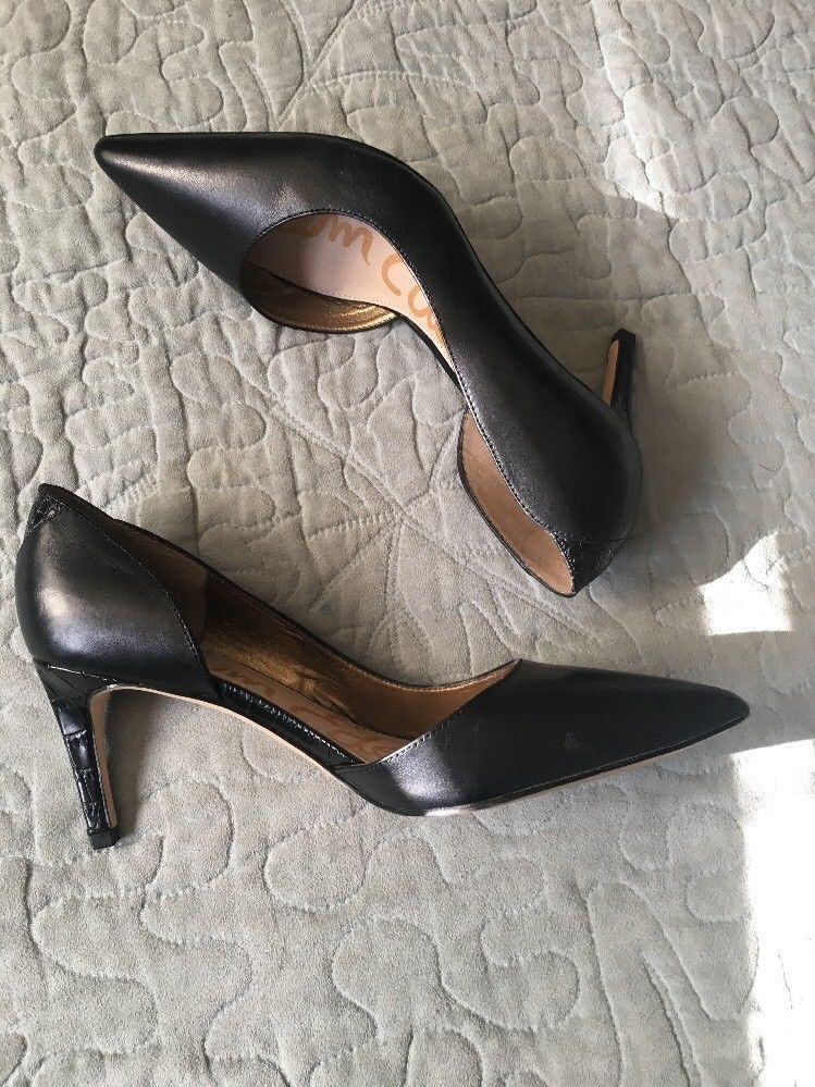 b79f195a150be3 S l1600. S l1600. Previous. Sam Edelman Black Snakeskin  Onyx  Half d Orsay  Pointy Toe Pump Womens Size