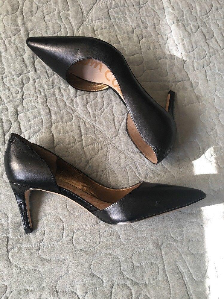 fcb3268183148c S l1600. S l1600. Previous. Sam Edelman Black Snakeskin  Onyx  Half d Orsay  Pointy Toe Pump Womens Size
