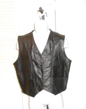 Barneys Leather Black Leather Motorcyle Biker Vest Size XL - $38.22