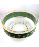Jeannette Glass fruit or salad bowl green Hellenic Grecian motif gold trim - $12.89