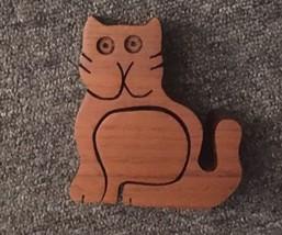 Modernist Bob Ameri Teak Wooden Cat Sculpture/Puzzle/candleholder - $17.77