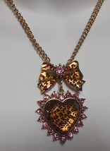 Betsey Johnson Gold-tone Leopard Pink Rhinestone Bow & Heart Necklace  - $43.56