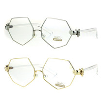 Pearl Nose Pad Clown Hand Hinge Squared Metal Rim Eye Glasses - $13.95