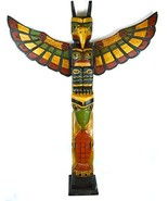 TALL 3 FOOT Tall Northwest Coast Style Wooden Eagle with Fish Totem Pole - $148.48