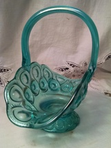 L. E. Smith Carnival Ice Blue Moon and Stars Handled Basket in Carnival ... - $95.00