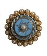 Vintage blue center faux seed pearl brooch pin retro costume jewelry - $21.66