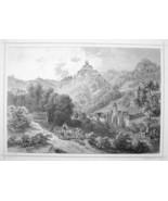 AUSTRIA Forchtenau Town & Castle - 1870s Original Engraving Print - $30.22