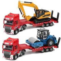 1:50 Trailer Alloy Truck Model Pull Excavator Roller Diecast Collection ... - $39.99