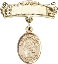 14K Gold Baby Badge with St. Apollonia Charm Pin 7/8 X 3/4 inch - $483.65