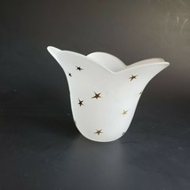 Stellar Blossom Candle Holder White Handblown Glass Gold Stars Partylite... - $32.45