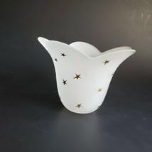 Stellar Blossom Candle Holder White Handblown Glass Gold Stars Partylite... - $32.45