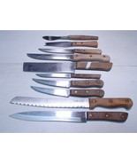 10 Vintage Wood Handled Kitchen Knives ~~ lot of 10 ~~ various makes - $14.95