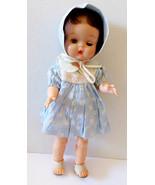 "VTG D&C Dee Cee 15.5"" Doll Blue Dress Hat Bonnet Sandals Blue Eyes Brunet - $163.35"