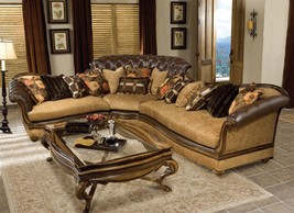 Benetti's Salvatore Luxury Tufted Sectional Sofa Rark Brown Wood Special Order