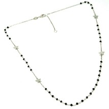 18K WHITE GOLD NECKLACE, FACETED BLACK SPINEL, FLAT STARS, ROLO CHAIN, ALTERNATE image 2
