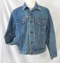 Levis Denim Trucker Jacket Distressed Vintage 1980's  Mens Size 46 USA R... - $79.99