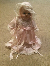 "Vintage Hard Plastic Doll 12"" Tall Baby Face Pink night clothes w doll s... - $69.29"