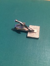 Vintage 60s silver plated Textured Square and Seahorse tie clip (bar style) image 3