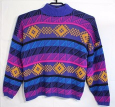Vintage Croquet Club women's sweater multicolor long sleeve made in USA ... - $29.48